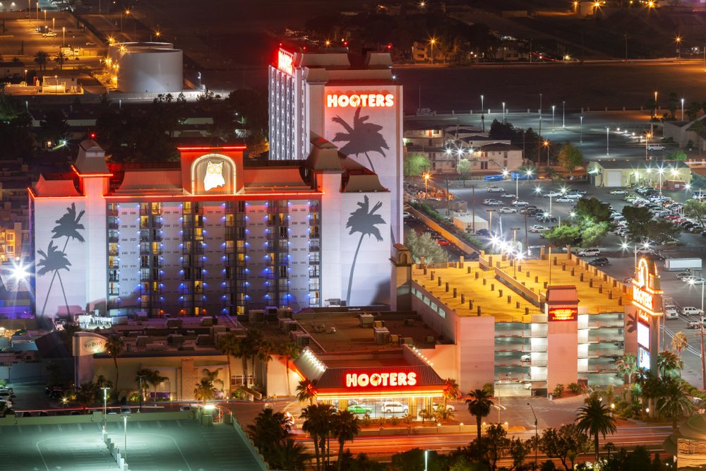 aerial nighttime view of Hooters Casino Hotel in Las Vegas