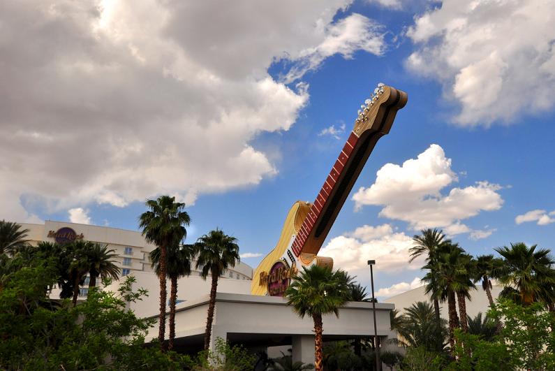 Exterior daytime view of Hard Rock Casino in Las Vegas.
