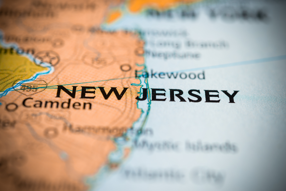 close-up of New Jersey location on map