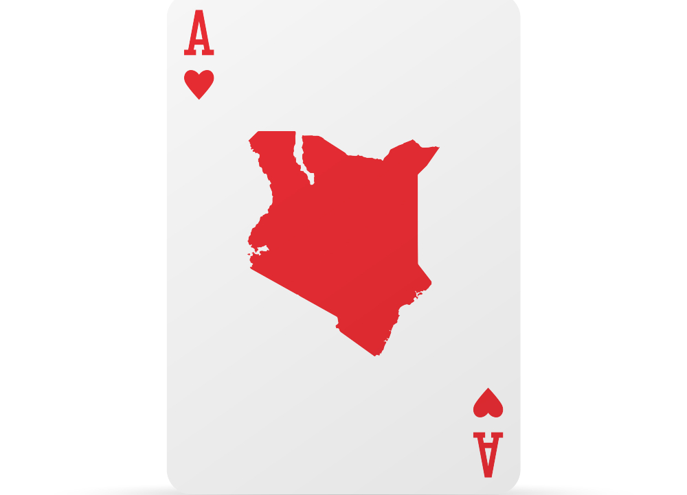 Ace card with map of Kenya