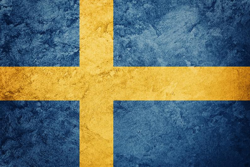 Sweden flag with grunge texture.
