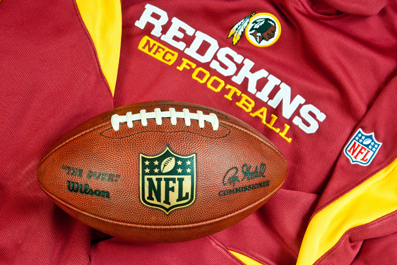 Washington Redskins club equipment with official NFL ball.