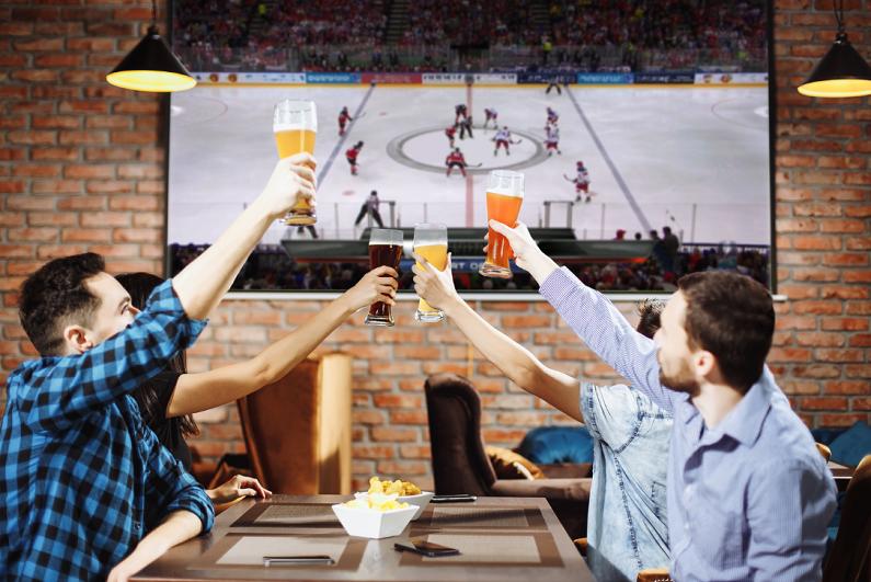 Men toasting their hockey team at a sports bar.