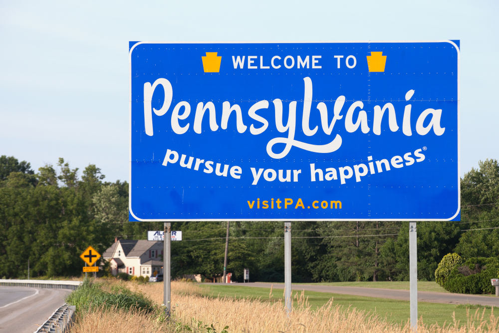 welcome to pennsylvania highway sign
