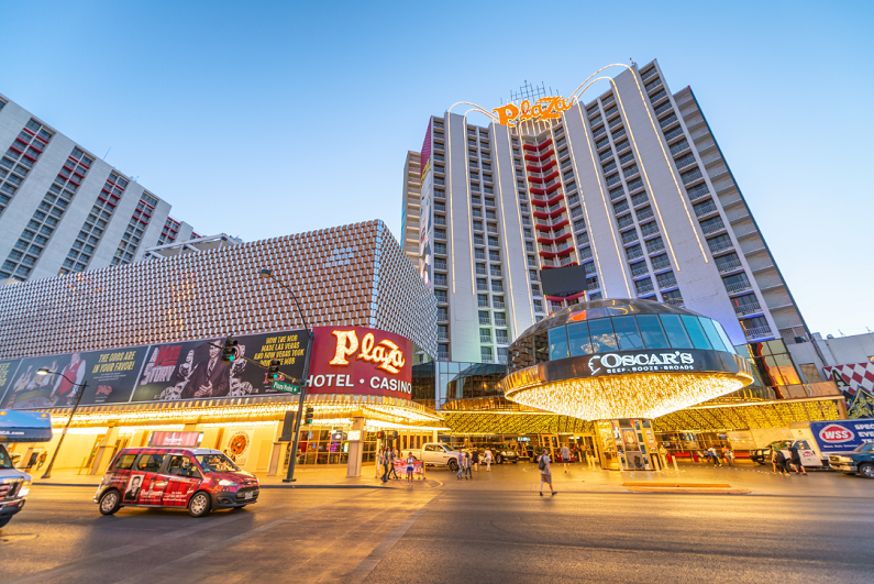 Exterior early-evening view of the Plaza Hotel & Casino in Las Vegas.