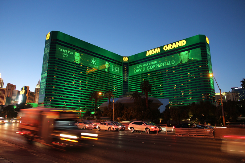 MGM Grand casino resort in Las Vegas at night.