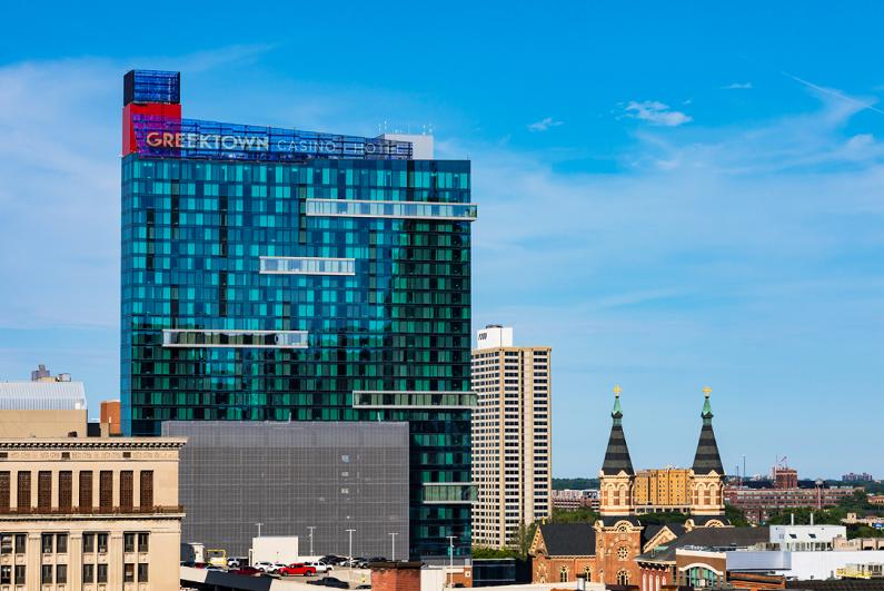Exterior daytime view of Greektown Casino in Detroit.
