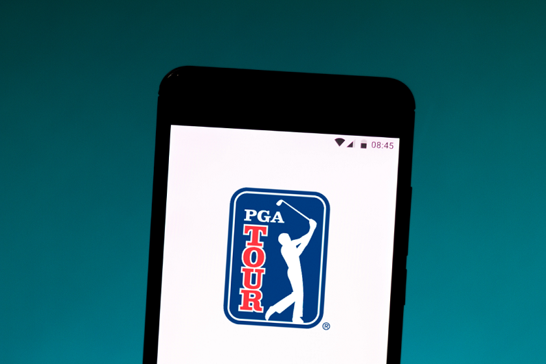 Illustration of the PGA Tour logo displayed on a smartphone.