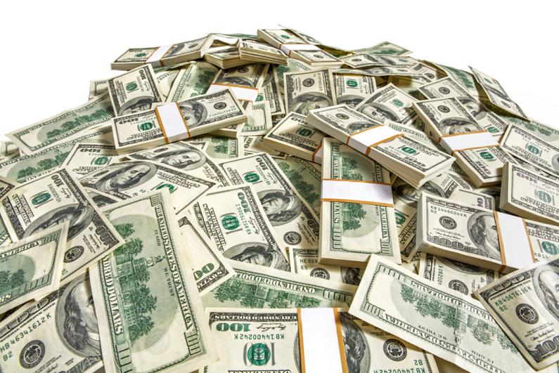 Heap of dollar banknotes.