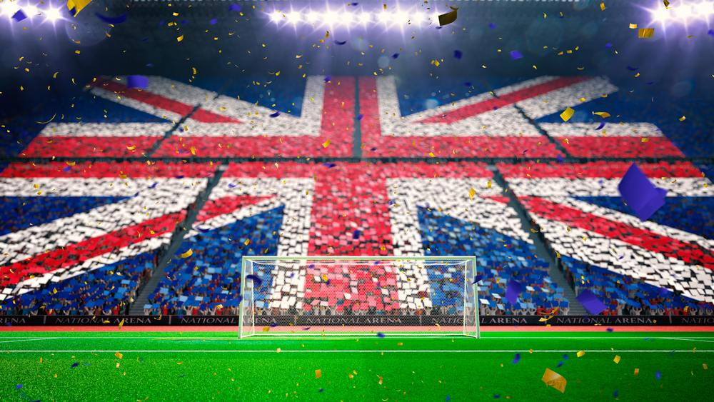 soccer stadium with union jack flag camouflaging audience