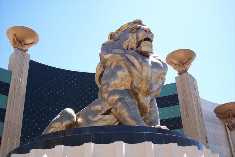MGM Grand lion statue.