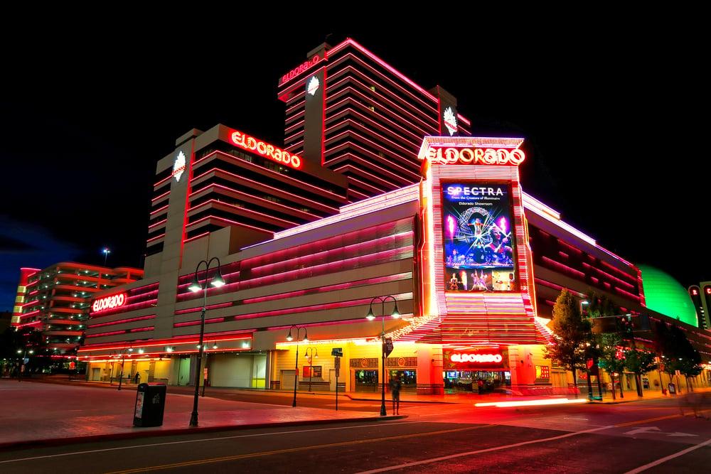 night shot of illuminated eldorado hotel and casino property