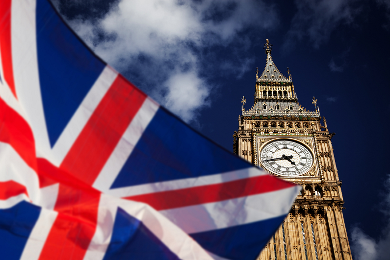 British Union Jack flag with Big Ben in the background.