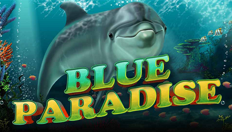 Blue Paradise slot logo.