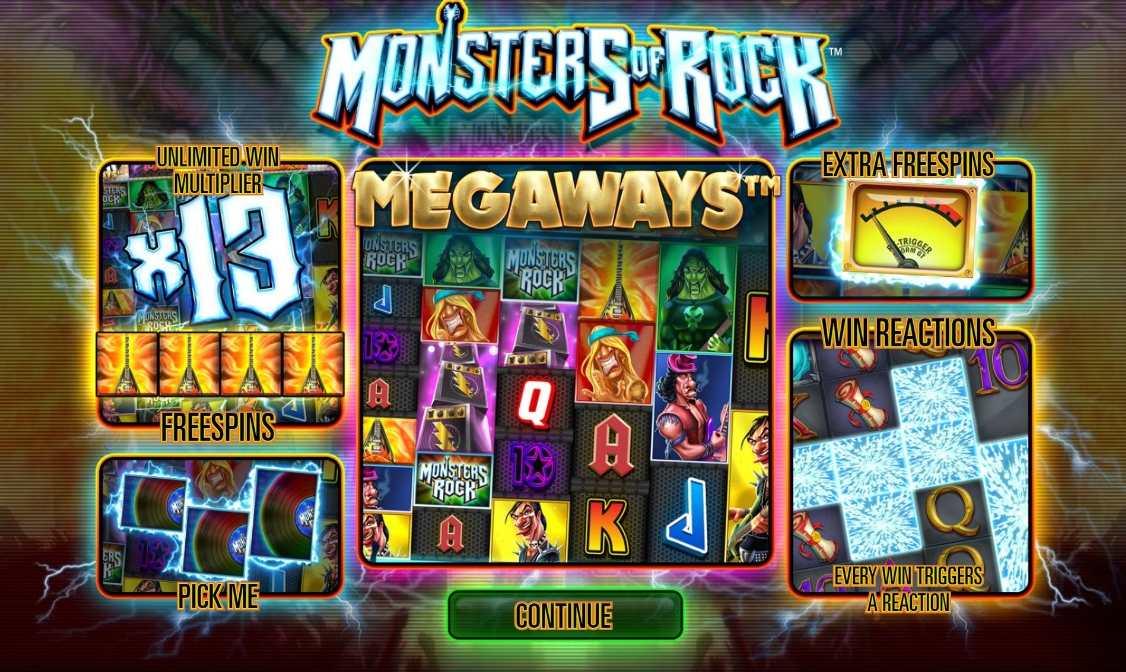 Monsters of Rock Megaways slot reels