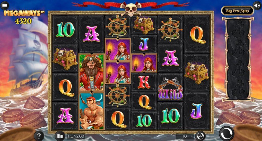 Pirate Kingdom MegaWays slot reels by Iron Dog Studios