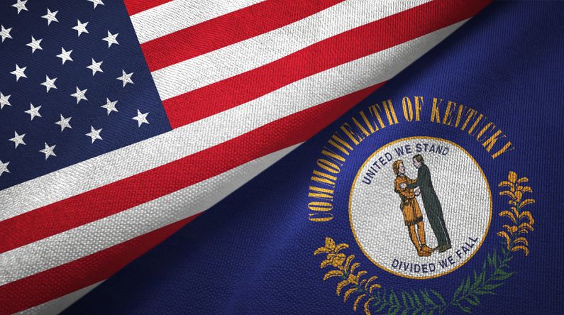 United States and Kentucky state flags