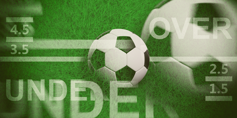 soccer ball on top of green pitch background with betting terms floating around image