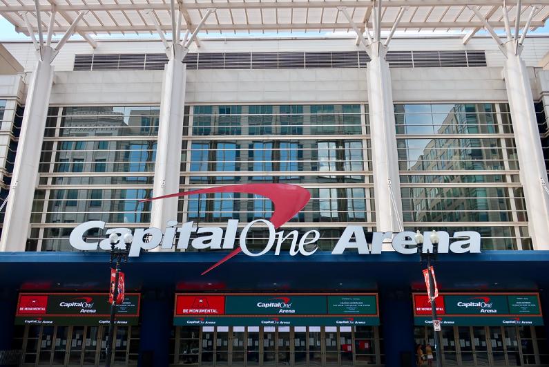 Exterior close-up of Capital One Arena.
