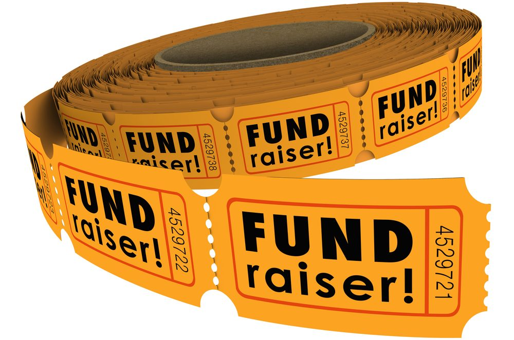 yellow fundraising ticket roll