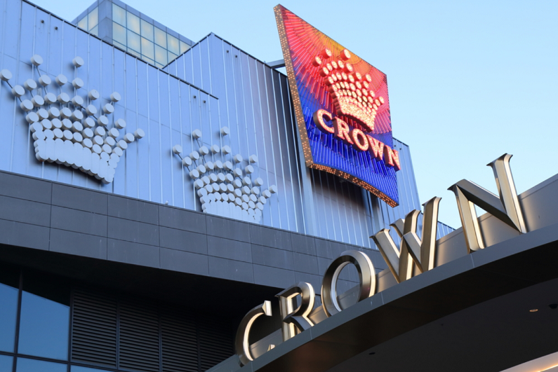 Crown logo outside of Crown Melbourne casino