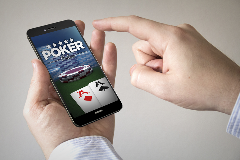 Closeup of person using fictional mobile poker app.