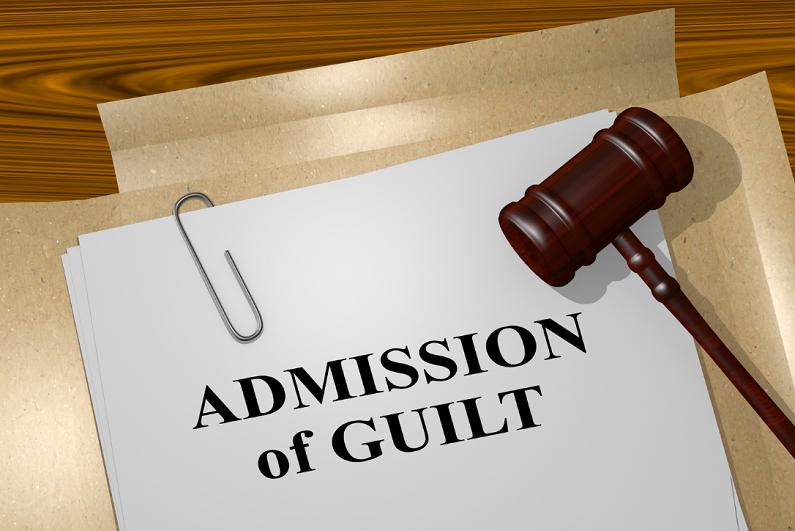 "3D illustration of ""ADMISSION of GUILT"" title on legal document."