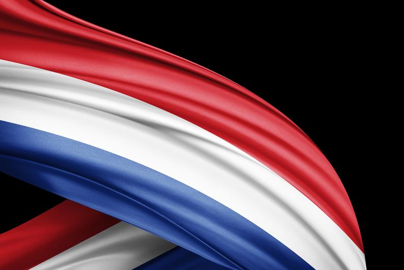 Netherlands flag with black background.