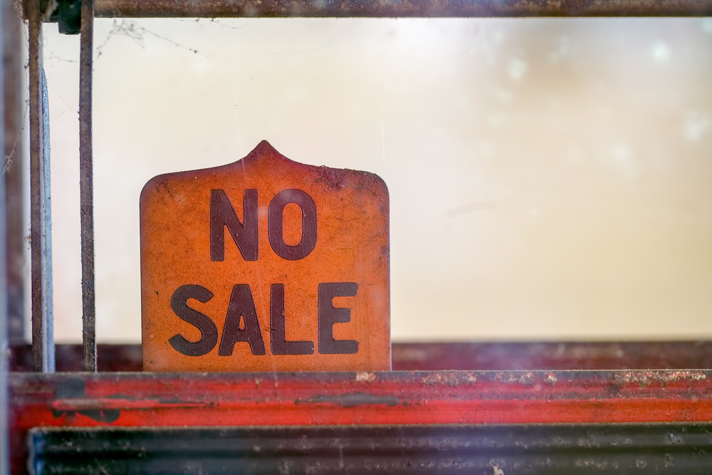 old sign reading no sale