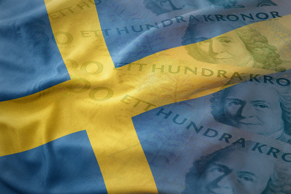 Swedish flag and krona notes