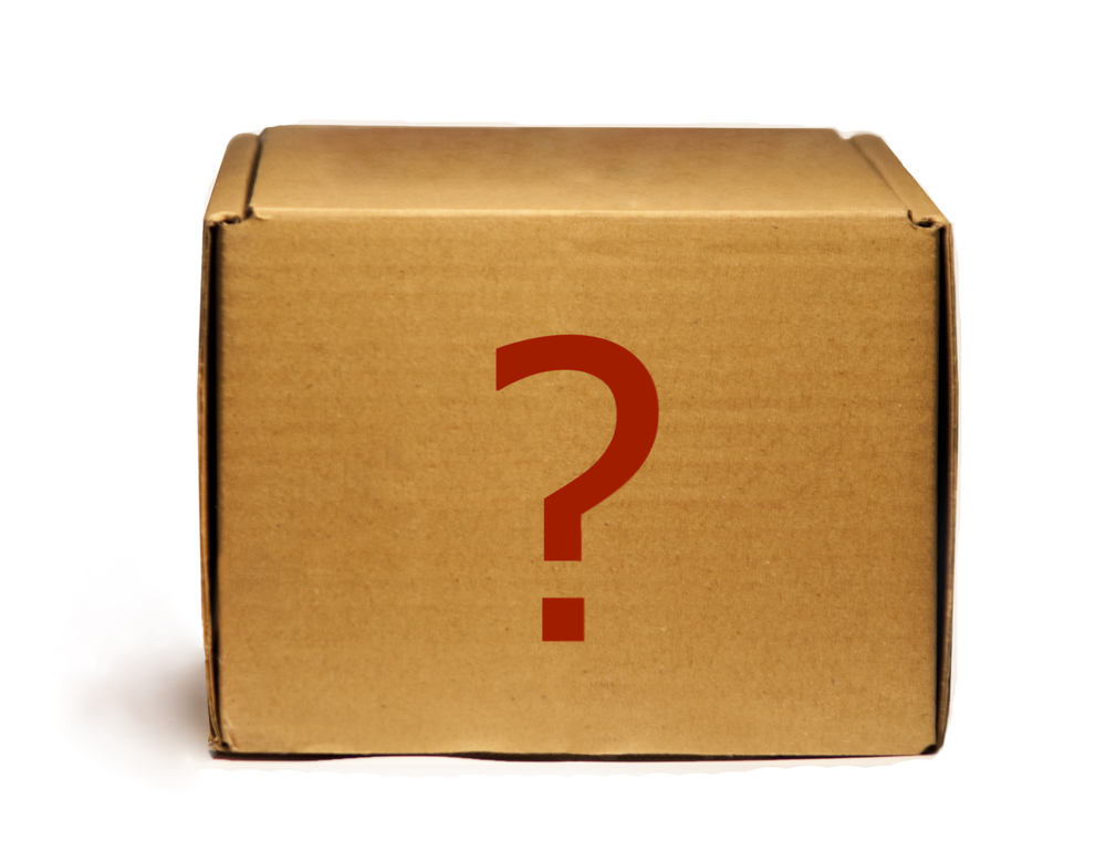 carton box with a red question mark