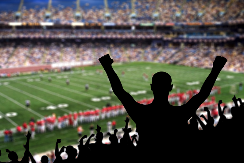 Fan celebrating a victory at an American football game.