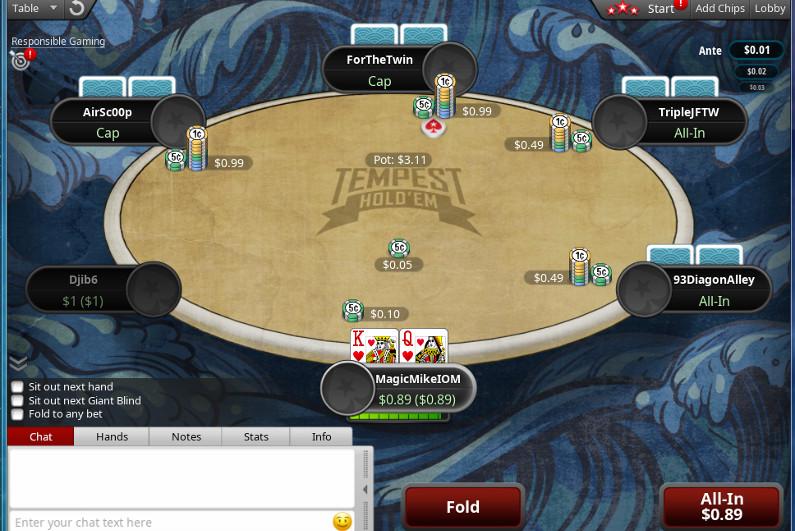 PokerStars Tempest Hold'em table