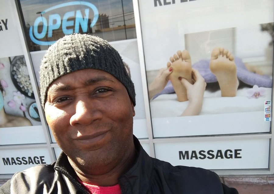 Poker pro Raymond Davis outside massage parlor
