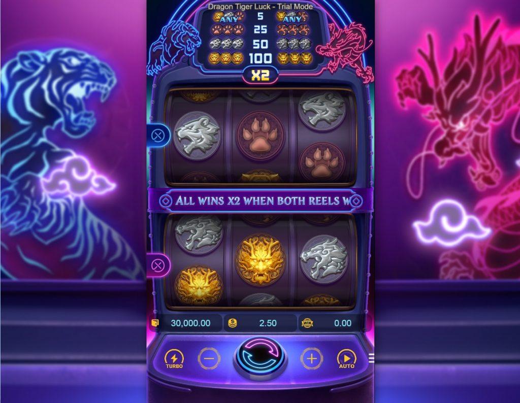 Dragon Tiger Luck slot reels by Pocket Games Soft