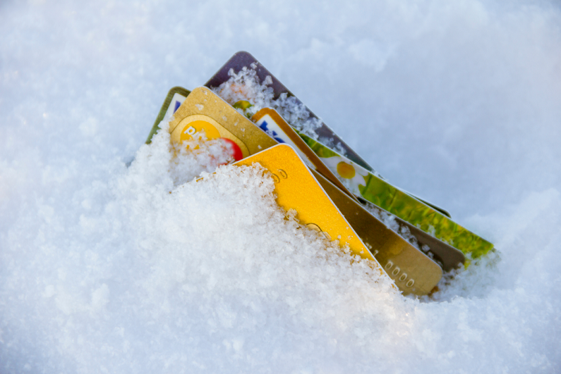 bank cards buried in snow
