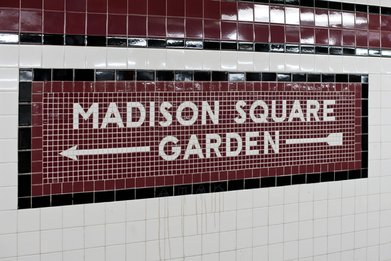 Madison Square Garden subway sign in New York city
