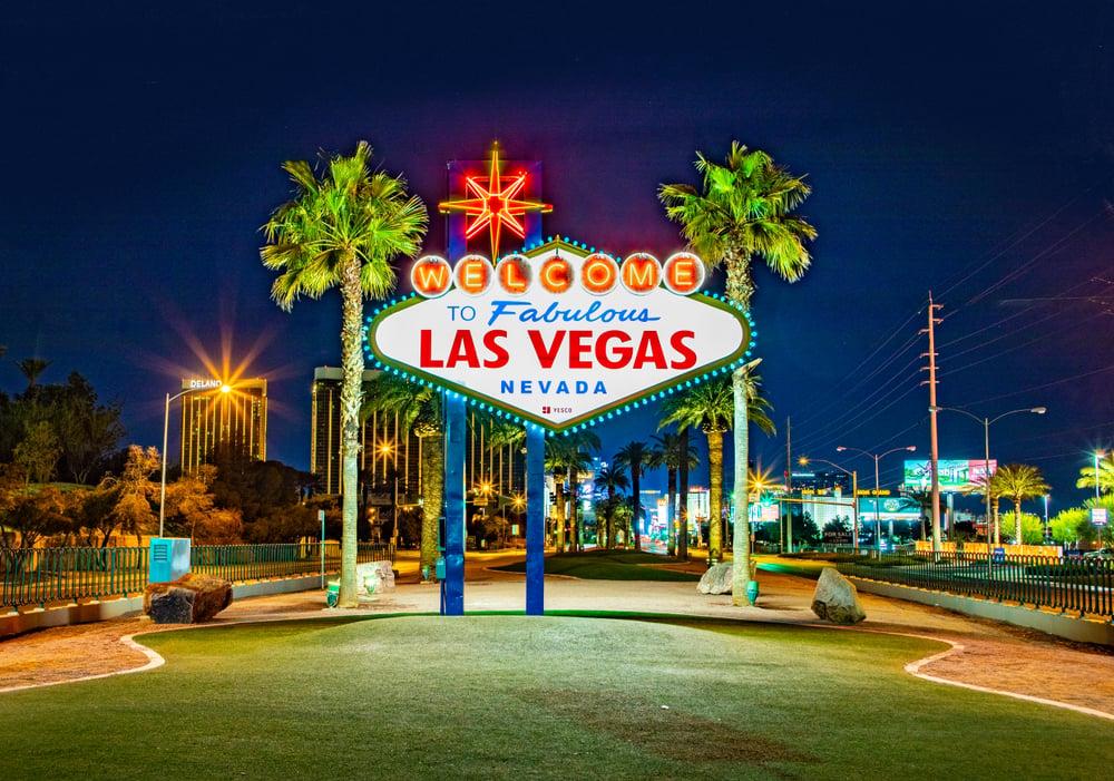 illuminated Las Vegas Nevada welcome sign