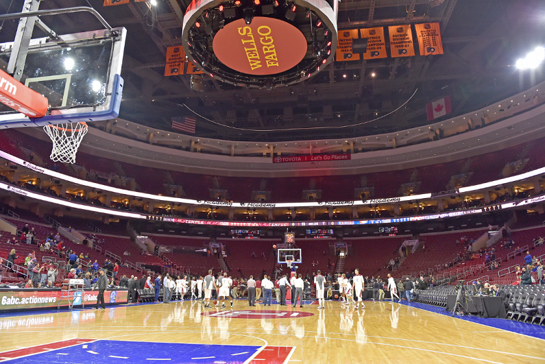 view from inside the Wells Fargo Center