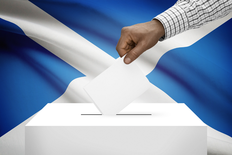 ballot box with Scottish national flag in background