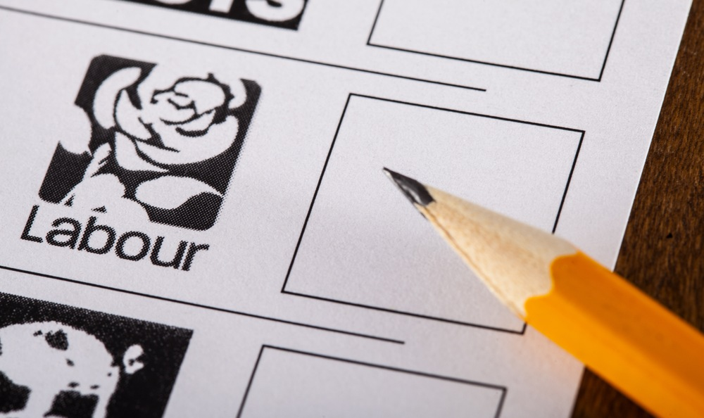 voting ballot including UK Labour Party candidacy