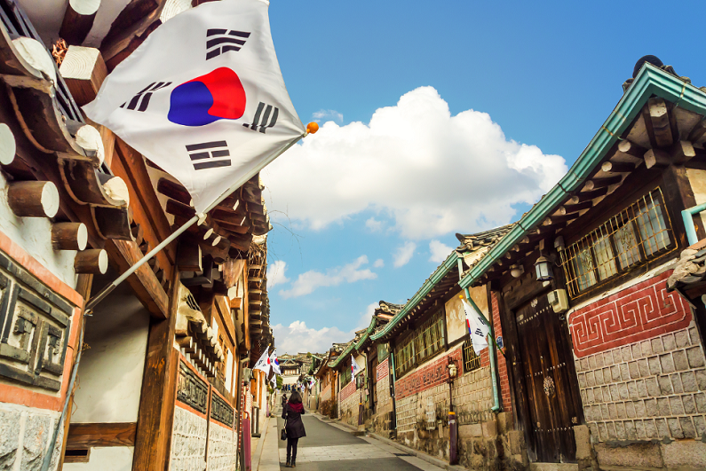 architecture at Bukchon Hanok Village in Seoul, South Korea