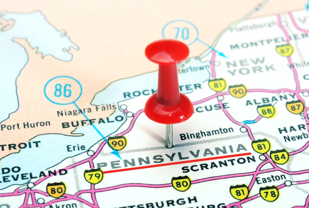 close-up of Pennsylvania state marked on map with red pin