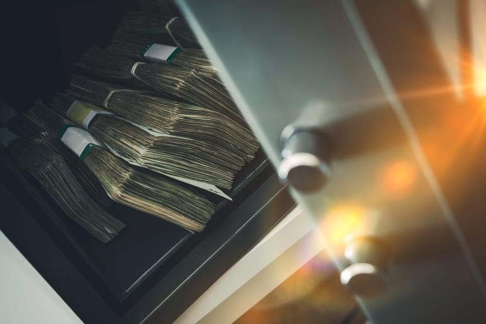 banknotes in safe