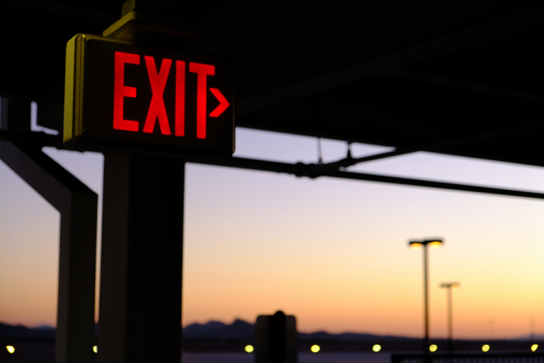 exit sign in parking lot