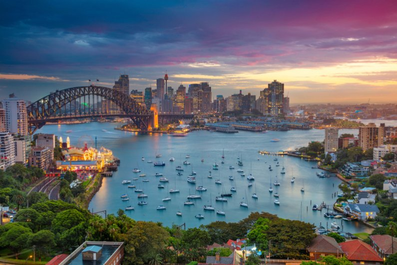Harbour Bridge and Sydney skyline during sunset