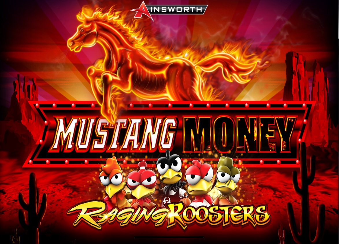welcome screen of Mustang Money Raging Roosters slot by Ainsworth