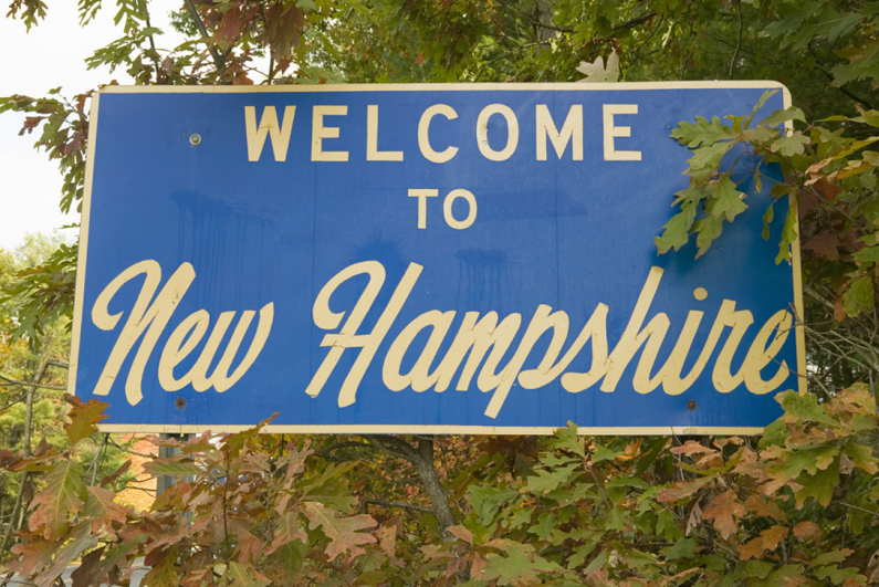 'Welcome to New Hampshire' road sign