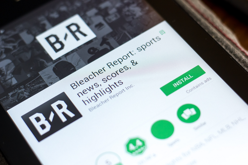 Bleacher Report app smartphone installation screen