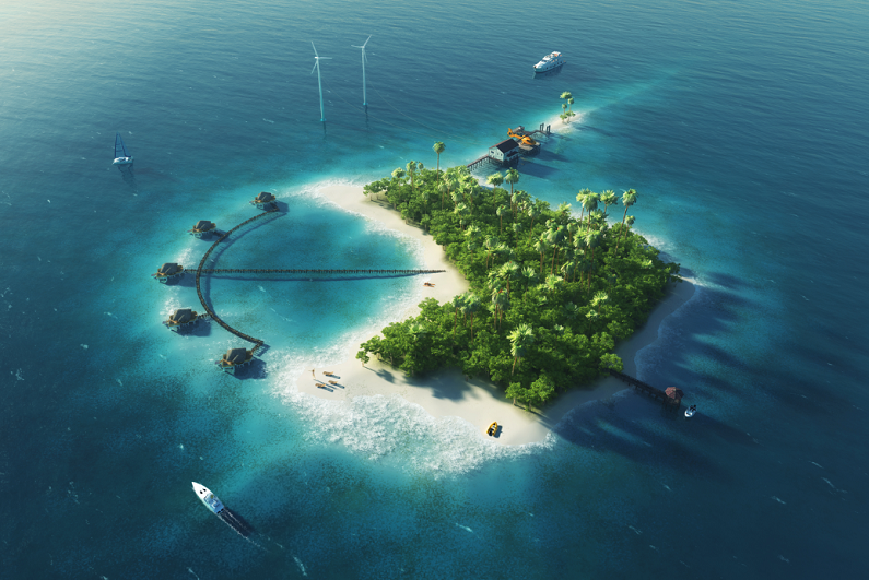 tropical island with wind turbines energy and bungalows
